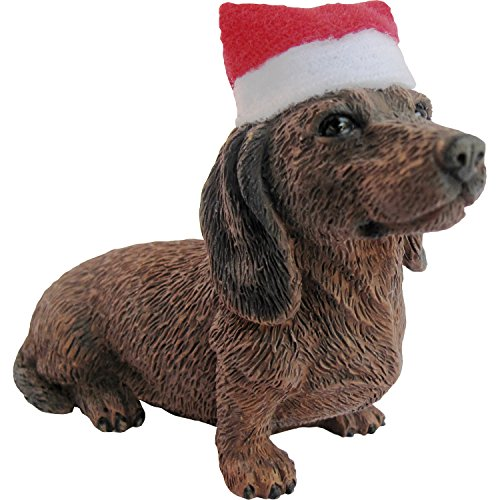 Dachshund with Santa Hat Christmas Ornament