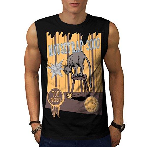 mouse-trap-cat-bait-cheese-lure-men-new-black-m-sleeveless-t-shirt-wellcoda