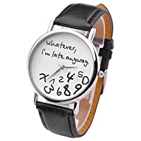 "JSDDE orologio da polso, Vintage ""Whatever, I'm late anyway"" Illusion incisi orologio al quarzo orologio Donna"
