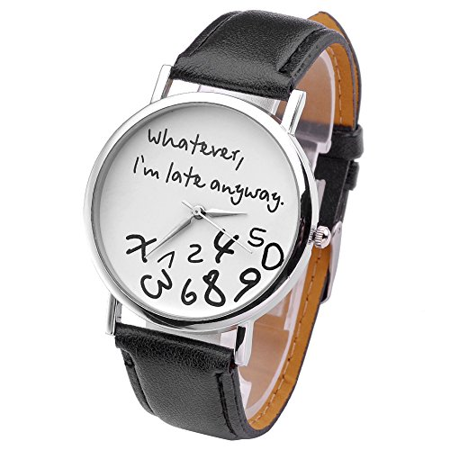 """JSDDE orologio da polso, Vintage """"Whatever, I'm late anyway"""" Illusion incisi orologio al quarzo orologio Donna"""