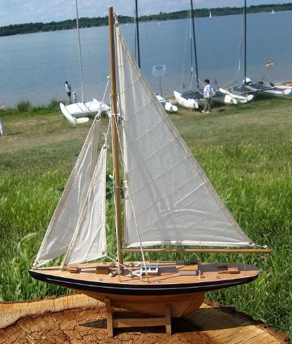 Yacht Sailing Boat Yacht Decorative Wooden Model Ship with Leinensegeln