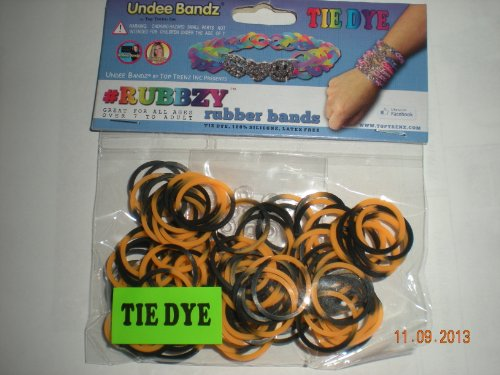 Rubbzy Orange and Black Tie Dye Loose Rubber Bands