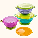 Henglian Best Baby Bowls,Stay Put And Spill Proof Suction Bowl Set , 3 Different Size Bowls, And Snap Tight Lids...