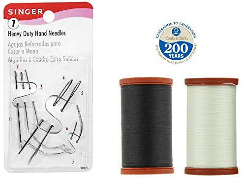 Coats & Clark Extra Strong Upholstery Thread 1 Naturel Spool, 1 Black Spool (150-Yard) Includes a Set of Heavy Duty Assorted Hand Needles, 7-count
