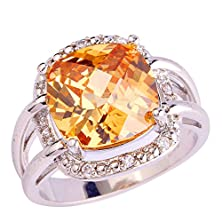 buy Psiroy 925 Sterling Silver Fashion Cushion Cut Morganite Cubic Zirconia Cz Cocktail Filled Ring For Women