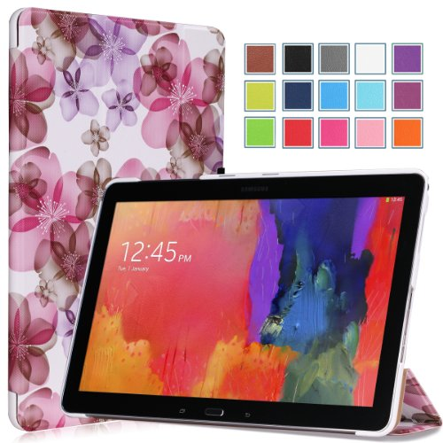 MoKo Samsung Galaxy Note PRO & Tab PRO 12.2 Case - Ultra Slim Lightweight Smart-shell Stand Cover Case for Galaxy NotePRO & TabPRO 12.2 Android Tablet, Flower PURPLE (With Smart Cover Auto Wake / Slee