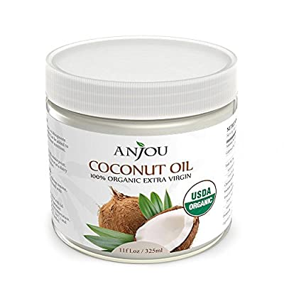 Anjou Organic Coconut Oil (USDA Organic Certification, Extra Virgin, Cold-Pressed for Beauty, Skin Care, Hair Care, and Cooking) 11 oz