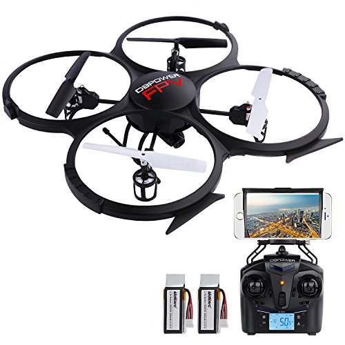 DBPOWER-U818A-WiFi-FPV-RC-Drone-with-HD-Camera-24GHz-4CH-6-Axis-Gyro-RTF-Quadcopter-with-Low-Voltage-Alarm-Gravity-Induction-and-Headless-Mode-Includes-BONUS-BATTERY