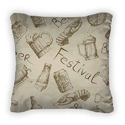 Gear New Sketch Beer Pattern Throw Pillow, Poplin, 16x16, GN8418