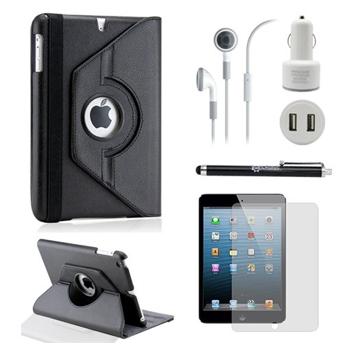 Sale!! Gearonic TM iPad Mini and iPad Mini with Retina Display 5-in-1 Accessories Bundle Rotating Case Business Travel Combo – Black