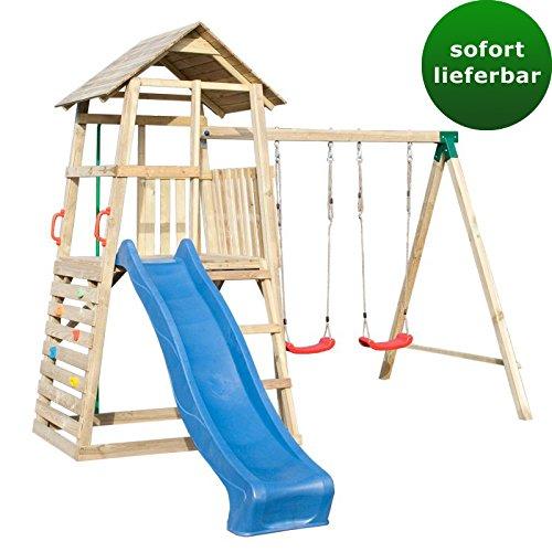 Spielturm 8B inkl. Wellenrutsche, Doppelschaukel-Anbau, Kletterwand und Rutschstange – Abmessungen: 345 x 370 cm online bestellen