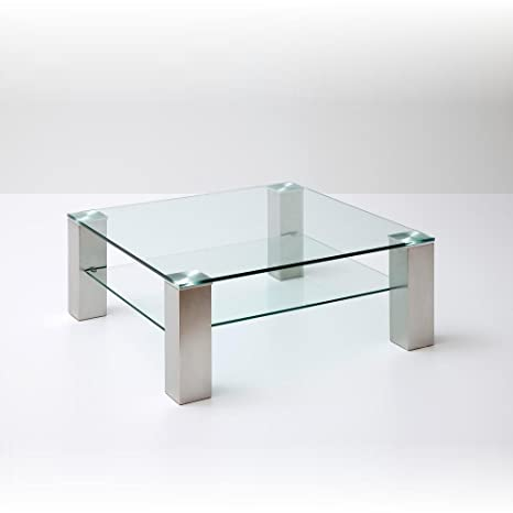 Robas Lund 58627Z14 ASTA Table basse carrée Verre/Acier satiné Transparent 90 x 90 x 40 cm