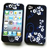 """Apple iPhone 4 & 4S Snap-on Protector Hard Case Image Cover """"Midnight Flowers"""" Design"""
