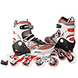 Kaluo Adjustable Inline Skates Kids 4 Durable PU Wheels Rollerblades for Boys and Girls Indoor Outdoor Blue/ Red(US Stock) (Red, US 10-13J)