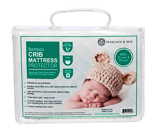 Ultra-Soft-Crib-Mattress-Protector-Pad-From-Bamboo-Rayon-Fiber-by-Margaux-May-Waterproof-Fitted-Quilted-Mattress-Protector-Pad-for-Your-Crib-High-Absorbency-and-Stain-Protection-Baby-Cover-Made-for-Su