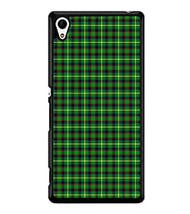 Fuson Premium 2D Back Case Cover Green stripes pattern With yellow Background Degined For Sony Xperia Z4::Sony Xperia Z4 E6553