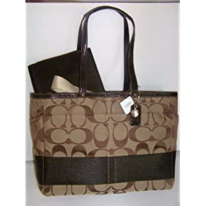 COACH SIGNATURE STRAP DIAPER LAPTOP BAG TOTE F13803 KHAKI/MAHOGANY