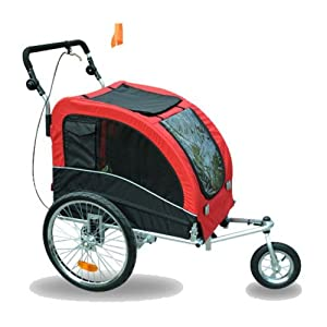 Aosom Elite II Pet Dog Bike Bicycle Trailer Stroller Jogger w/ Suspension - Red Black