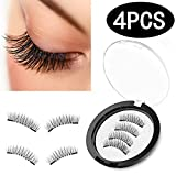 Magnetic Eyelashes [No Glue], Premium Quality [Perfect Size For All Eyes] False Eyelashes Set for Natural Look - Best Fake Lashes Extensions One Two Cosmetics 3D Reusable[4PCS]