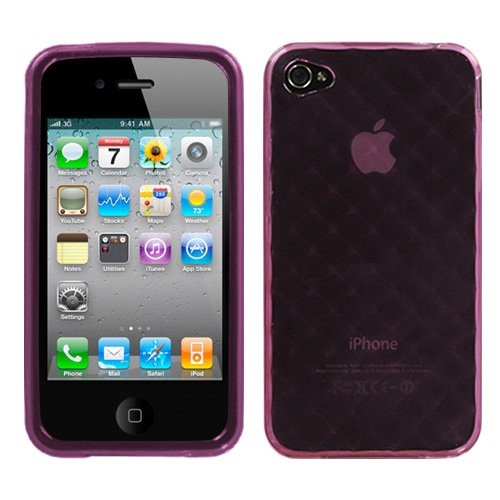 Apple iPhone 4 4S Soft Skin Case Purple Diamond