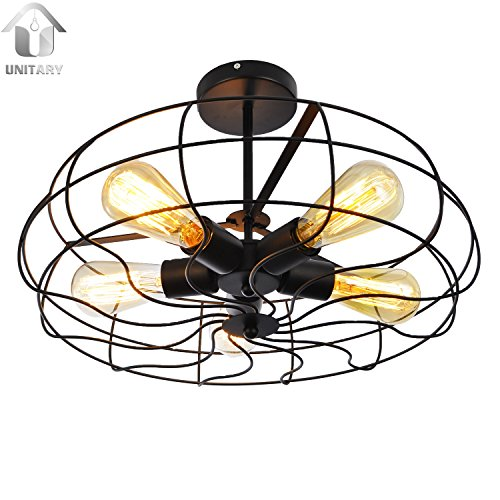 UNITARY BRAND Vintage Barn Metal Semi Flush Mount Light Max 300W With 5 Lights Painted Finish (Kitchen Semi Flush Lighting compare prices)