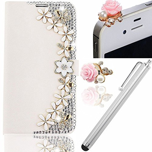 Vandot 3 in1 Accessories Set Elegante Lusso Sottile Flip Folio Pelle Leather Case per Samsung Galaxy J5 Protector Custodia Cover Magnete Snap-on Stile - Fiore + Cristallo Strass Rosa Protezione di Polvere Flower Brillare Pearl Anti-Dust Spina