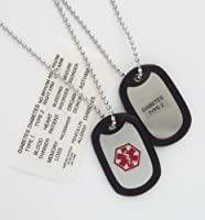 Medical Alert ID Adult Dog Tag Necklace with Condition Decals from Fashion Alert