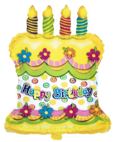 "28"" Happy Birthday Cake Candles Helium Shape balloon"