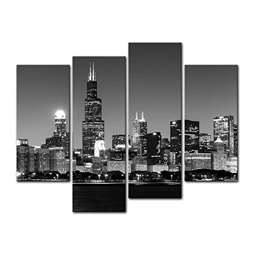 4 Pieces Modern Canvas Painting Wall Art The Picture For Home Decoration Panoramic View Of Chicago Skyline At Night In Black And White Place Cityscape Print On Canvas Giclee Artwork For Wall Decor (Chicago Skyline Framed Picture compare prices)