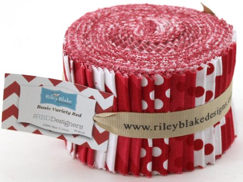 Riley Blake BASICS VARIETY RED Rolie Polie 24 2.5 inch Jelly Roll Strips Quilt Fabric RP-80-24 (Quilt Fabric Jelly Roll Dots compare prices)