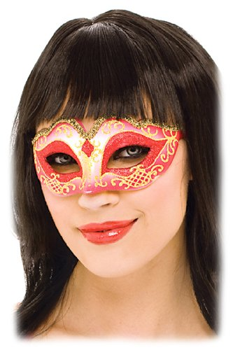 Sexy and Seductive Red Masquerade Eye Mask Victorian Womens Theatrical Costume