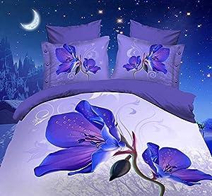 Purple Flower 100% Cotton Queen Size 3d Print Bedding Set (1 Duvet Cover + 1 Bed Sheet + 2 * Pillow Case)