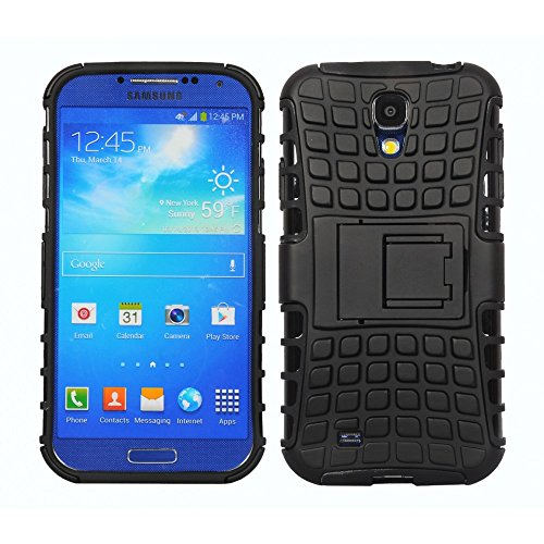 Cubix Defender Series Dual Layer Hybrid TPU + PC Kickstand Case Cover for Samsung Galaxy S4 i9500 (Black)