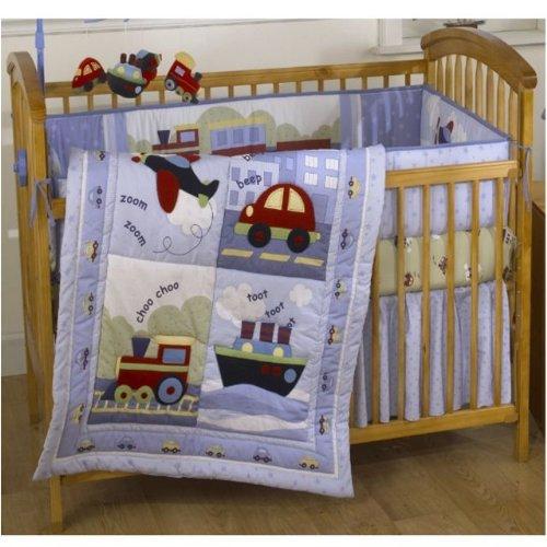 Bedtime Originals Travel Time 4 Piece Baby Crib Bedding Set Blue