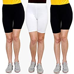 Goodtry Women's Cycling Shorts Pack of 3- Black,White,Black