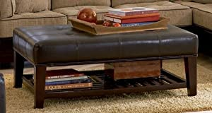 Ottoman with Open Shelf & Tufted Top Dark Brown Leather Like