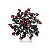 Christmas Gifts Christmas Wreath Crystal Holiday Brooch Pin Black Rhodium Plated