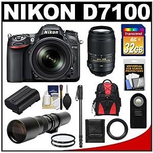 Nikon D7100 Digital SLR Camera & 18-105mm VR DX AF-S Zoom Lens (Black) with 55-300mm VR Lens + 500mm Tele Lens + 32GB Card + Battery + Backpack + Accessory Kit