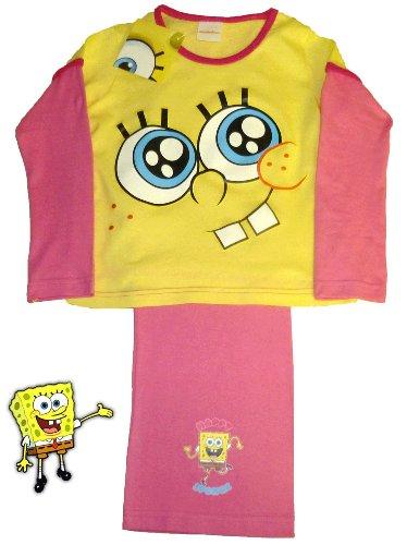 Sponge Bob Girls Long pink/yellow Pyjamas 7-8 Years