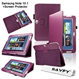 SAVFY Samsung Galaxy Note 10.1 (GT-N8000 / GT-N8010) Purple Luxury Flip Stand Leather Case Cover Multi-Function Folio Pouch with Touch Stylus Loop Holder Design, includes FREE Bonus Gift: High Quality Screen Protector (Purple)by SAVFY