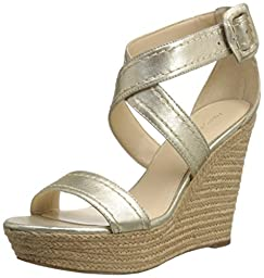 Marc Fisher Women\'s Haely Platform Slide Sandal, Gold, 6 M US