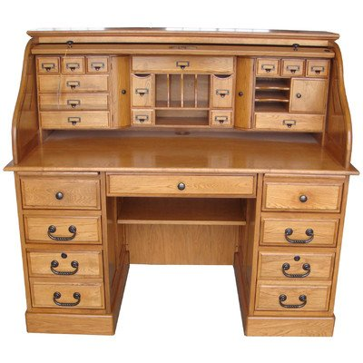 Marlin Deluxe Roll Top Desk Top Finish: Harvest Oak