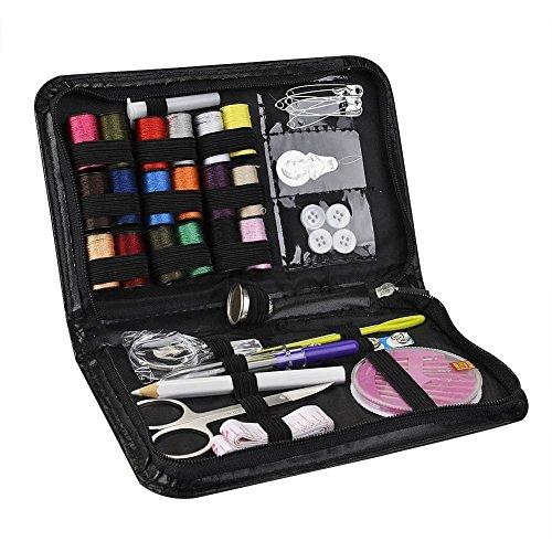 Threading ago Tape Measure Scissor kit da cucito ditale multifunzione accessori da viaggio Kit da cucito Camper Emergenza Kit da cucito Strumenti con borsa in PU nero 38pcs