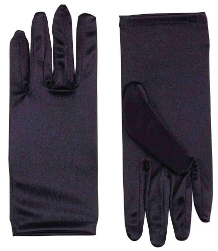"9"" Black Satin Adult Female Costume Gloves"