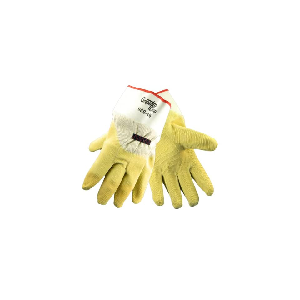 Global Glove 660 Gripster Rubber on 5 Piece Cotton Canvas Liner Glove with Safety Cuff, Work, Extra Large (Case of 72)