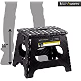 Kitch N' Wares - 11 Inch Heavy-Duty Quality Folding Step Stool With Handle - Safe Non Slip Surface For Kids And Adults - Super Handy Saves Space For Work And Home - Super Strong Holds Up To 300 Pounds