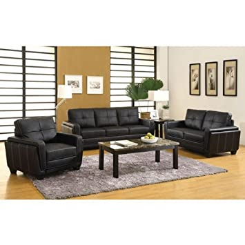 Dyer Black Leatherette Finish 3-Piece Sofa Set