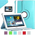 Samsung Galaxy Tab 2 10.1 Case, ULAK PU Leather 360 Rotating Multi Viewing Angles Stand Case Cover for Samsung Galaxy Tab 2 10.1 inch P5100 P5110 Tablet with Screen Protector (Light Blue)