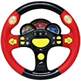 Children's Steering Wheel Toys Baby Early Childhood Educational Driving Simulation (Red and Black)