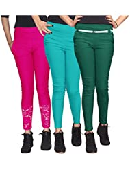 Xarans Stylish Looking Cotton Lycra Net, Button, Zip Jegging Set Of 3 Pcs - B01KJJ9SZY